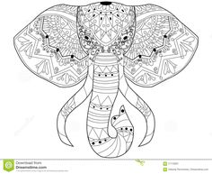 Elephant Coloring Vector For Adults Stock Vector - Image: 71110001