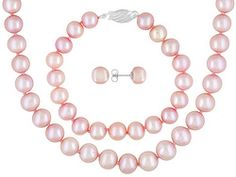 8-9mm Pink Cultured Freshwater Pearl Sterling Stud Earring, 7 Inch Bracelet, 18 Inch Necklace Set