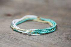 Beaded Multi Wrap Bracelet, Boho Chic Seed Bead Jewelry, Beaded Stretch Bracelet, Turquoise & Gold, Layering Necklace, Claspless Bracelet