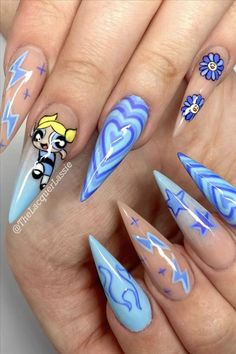You will find best beauty products on Ange Beauty Blue Glitter Nails, Bling Acrylic Nails, Summer Acrylic Nails, Best Acrylic Nails, Acrylic Nail Designs, Pink Nails, Nail Art Blue, Bright Blue Nails, Disney Acrylic Nails