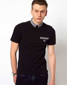 Fred Perry Polo with Gingham Check Collar in Black
