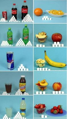 Check out this website! It gives you visual examples of how much sugar is in some popular foods…  http://www.sugarstacks.com/