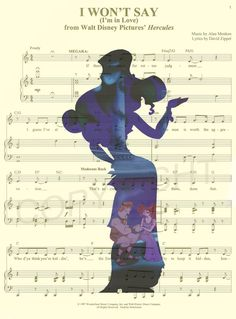Here is an art print of Meg (Megara) and Hercules from Disneys Hercules on the sheet music for the song I Wont Say I Am in Love. This is perfect for