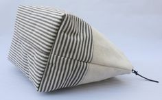 """Classic Brown and Off White Striped 6"""" x 10"""" Color Blocked Zipper Pouch"""