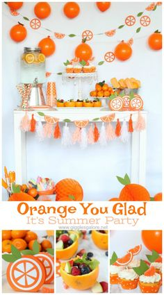 As the school year comes to an end we are celebrating with a citrus inspired Orange You Glad It's Summer party! - Orange You Glad It's Summer Party with Cricut Orange Party, Orange Birthday Parties, Baby Orange, Summer Birthday, Orange You Glad, Summer Party Decorations, Orange Decorations, Summer Party Themes, Ideas Para Fiestas