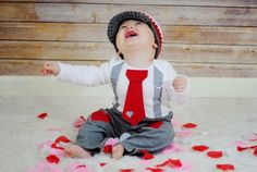 Valentines Day Baby Boys Tie and Suspenders GET by shopantsypants