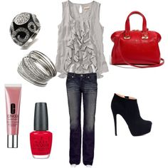 Grey ruffles, black booties and red accents