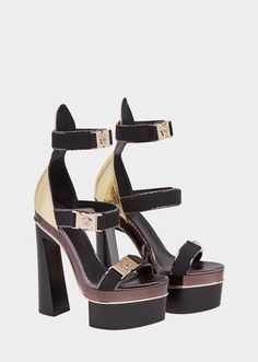 365fdba4b3d Medusa Tri-Strap Laminated Sandals from Versace Women s Collection. An  iconic shoe. High-heel