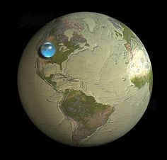 This picture shows the size of a sphere that would contain all of Earth's water in comparison to the size of the Earth. The blue sphere sitting on the United States, reaching from about Salt Lake City, Utah to Topeka, Kansas, has a diameter of about 860 miles (about 1,385 kilometers) , with a volume of about 332,500,000 cubic miles (1,386,000,000 cubic kilometers). The sphere includes all the water in the oceans, seas, ice caps, lakes and rivers as well as groundwater, atmospheric water