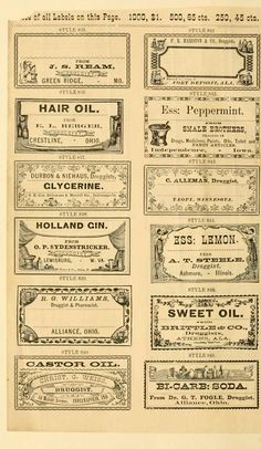interesting vintage labels