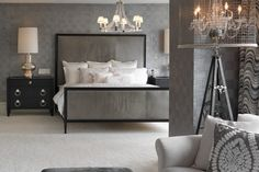 Dazzling Modern Chandelier Designs Illuminating the Beauty Thoroughly: Captivating Contemporary Bedroom Design Interior With Modern Chandeli. Interior, Elegant Bedroom, Home Bedroom, Transitional Bedroom Design, Home Decor, House Interior, Bedroom Inspirations, Interior Design, Gray Interiors