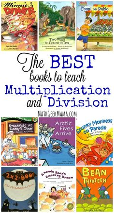 Help introduce or reinforce multiplication and division with children's literature. This list includes all the best books to teach multiplication and division, and help them learn the tricky facts! Authors are listed with the titles on this website. Teaching Multiplication, Multiplication And Division, Teaching Math, Teaching Division, Math Fractions, Multiplication Strategies, Teaching Ideas, Teaching Time, Teaching Spanish