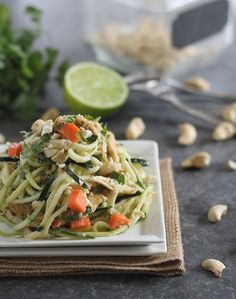 Thai inspired chicken with julienne zucchini instead of noodles. With coconut oil, coconut cream, fish sauce, cashews and peanut butter, this recipe has a full bodied flavor but is very simple to make. Ginger, garlic and carrot pieces and additional flavor and color.