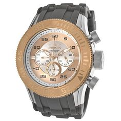 Men's Wrist Watches - Invicta Mens 14980 Pro Diver Chronograph Silver Rose Gold Dial Grey Silicone Watch * Read more reviews of the product by visiting the link on the image. (This is an Amazon affiliate link)
