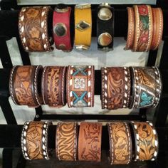 Handmade leather cuffs for Men and Women are now available at My Flaming Heart! Made in house from vintage leather Western belts by one of our lovely ladies.