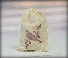 Purple Bird muslin cotton favor bag 1 by CherryDreamsCreation, $0.85