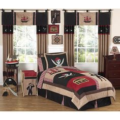 Pirate room. Black, tan and red.