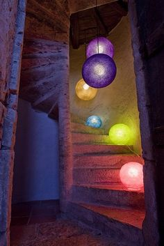 bolas de hilo - luminarias