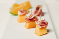 cute way to do bite size melon/proscuitto via my honeysuckle blog