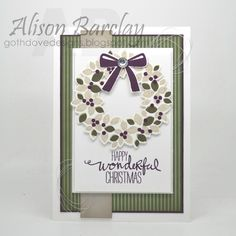 Gothdove Designs - Alison Barclay - Stampin' Up! Australia - Stampin' Up Christmas Card - Wondrous Wreath #stampinup #stampinupaustralia #gothdovedesigns #christmas #card #wreath #palspaperarts
