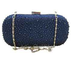 Ladies Navy Blue Satin & Crystal Clutch Handbag Evening Bag Purse - ADG6  this one is kinda like the gorge one without any of the pizzazz.