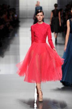 Dior RTW FW12 – Look 54: Raspberry silk dress. Discover more on www.dior.com