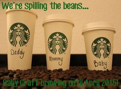 Our baby announcement. Yes. I love Starbucks :)