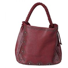 Raspberry-Red Hobo Bag with Stud Detailing