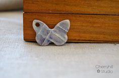 Purple Grass Butterfly Pendant, Ceramic Pendant, Ceramic Connector, Ceramic…