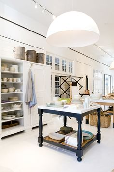 Oversize dome-shaped pendants create visual drama without overwhelming the space, thanks to their clean shape and white color. Photo courtesy of Angie Silvy Marble Top Kitchen Island, Dining Pendant, Kitchen Pictures, Kitchen Ideas, Kitchen Trends, Workspace Inspiration, Home Design Plans, Trendy Home, Modern Rustic