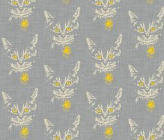 henry_in_gray_linen fabric by holli_zollinger on Spoonflower - custom fabric    Oh boy, I need this in my life, somewhere. Cat beds maybe?