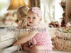 pink headband pink shabby chic baby headbandpink by ThinkPinkBows, $7.95