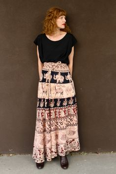 Vintage 70's Maxi Indian Wrap Skirt Block Print by moonchildvintage on Etsy