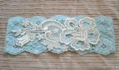 Ordered!! Light Blue Lace Garter - Vintage Applique