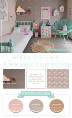 Cutting Edge Stencils shares a stenciled girls room using the Cloud Allover stencil.. http://www.cuttingedgestencils.com/clouds-allover-stencil-pattern-for-walls.html