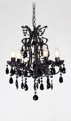 Petite Beaded Black Venetian Modern Chandelier 5 Lights