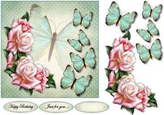Vintage Butterflies on Craftsuprint designed by Marijke Kok - Beautiful roses and vintage butterflies, a lovely card for so many occasions. -…