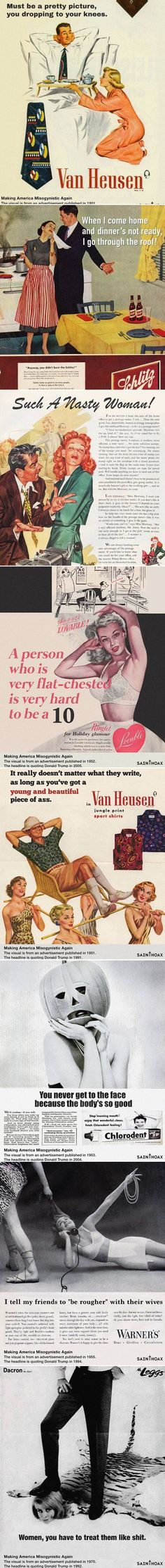 'Saint Hoax' took misogynistic ads from the 1950s and added Donald Trump's sexist quotes.