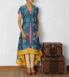 Blue Chanderi Shibori Dyed Front Open Kurta