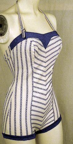 nautical+vintage+fashion | Vintage 1950's Nautical Theme Halter Stretch Swimsuit/ Bathing Suit ...