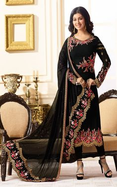 15908c86c99a Buy Top Black Santoon and bottom Black Chiffon Semi Stitch Salwar Kameez  Online