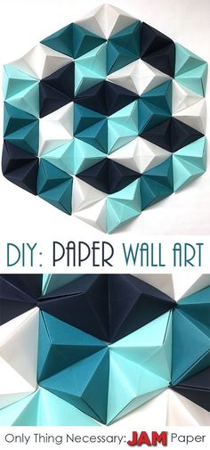Read on to find 8 easy steps to make the perfect geometric paper wall art piece!… Read on to find 8 easy steps to make the perfect geometric paper wall art piece! The only necessary item you need is JAM Paper®! READ ON Diy Wand, Pot Mason Diy, Mason Jar Crafts, Diy Home Crafts, Fun Crafts, Arts And Crafts, Diy Paper Crafts, Diy Crafts With Paper, Stick Crafts