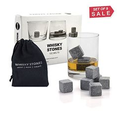 Whiskey Stones, Yummy Sam Reusable Ice Stone Chilling Rocks Cubes in Gift Box with Carrying Pouch, Set of 9 for Whiskey, Bourbon, Wine or Other Spirits * Continue to the product at the image link. Whiskey For Colds, Gifts For Dad, Fathers Day Gifts, Best Amazon Gifts, Ice Stone, Dark Home Decor, Wine Chillers, Thing 1, Whisky