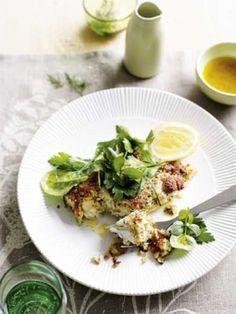Macadamia-crusted fish with herb salad