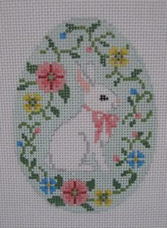Handpainted Needlepoint Canvas Susan Roberts Easter Bunny Flower Vine Egg 0446 #SusanRoberts
