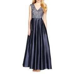 Aidan Mattox Sequined Taffeta Gown ($485) ❤ liked on Polyvore featuring dresses, gowns, charcoal, blue a line dress, v neck sequin dress, blue evening dress, blue dress and blue sequin gown