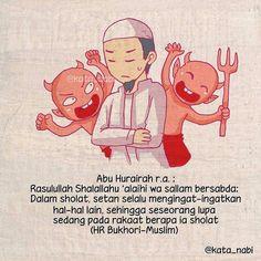 """@kata_nabi . . Diutarakan oleh Hudzaifah Radhiyallhu 'anhu: """"Mula-mula sesuatu yang kamu kehilangan dari agamamu adalah kekhusyu'an. Sedangkan yang terakhirnya adalah sholat. Mungkin seseorang yang mengerjakan shalat tetapi tidak mendapat kebaikan. Hampir-hampir kamu masuk masjid tetapi tidak kamu jumpai orang-orang yang sholat dengan khusyu'."""" . Karena itu agar sholat kita senantiasa khusyu' sering-seringlah berdzikir dan membaca ta'awudz rajin melakukan amalan-amalan sunnah menghindari… Quran Verses, Quran Quotes, Muslim Quotes, Islamic Quotes, Iman Islam, Islamic Cartoon, Hijab Cartoon, Love In Islam, All About Islam"""