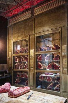 Butcher Restaurant, Restaurant Kitchen Design, Meat Restaurant, Restaurant Lounge, Restaurant Concept, Restaurant Interior Design, Steak Shop, Carnicerias Ideas, Bbq Shop