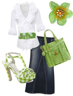 I love this bright, fun and chic ensemble with Apple Green accessories! Just the right amount looks so fresh and cool for the Spring- and if you aren't a fan of the denim maxi skirt look, wear a shorter mini, capris or a pair of jeans! Modest Outfits, Modest Fashion, Casual Outfits, Fashion Outfits, Womens Fashion, Pretty Outfits, Cute Outfits, Maxi Styles, Spring Outfits