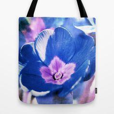 blue flower Tote Bag by Angela Bruno - $22.00